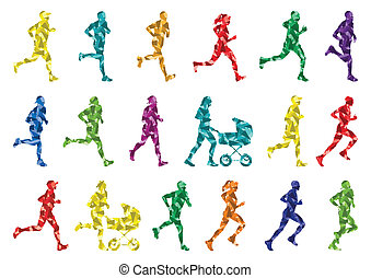 colorido, invierno, corredores maratón, siluetas, plano de...