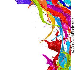 colorido, isolado, pintura, esguichos, fundo, branca