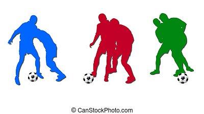 colorido, jogadores futebol, silhuetas