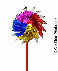 colorido, juguete, molino de viento, aislado, blanco, plano de fondo