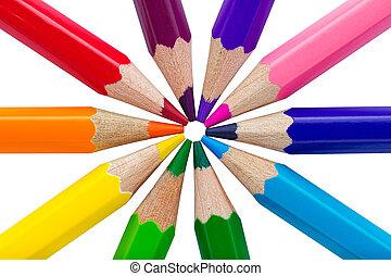 colorido, lápices, aislado, encima, fondo blanco
