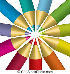 colorido, lápices