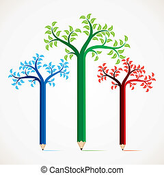 colorido, lápiz, árbol