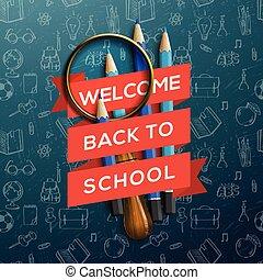 colorido, lápiz, carboncillos, con, texto, back to la escuela, en, cinta, vector, illustration.