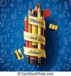 colorido, lápiz, carboncillos, con, texto, back to la escuela, en, cinta, vector, ilustración