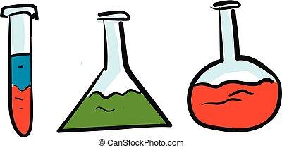 colorido, líquido, ilustración, vidrio, frascos, vector, plano de fondo, blanco, química