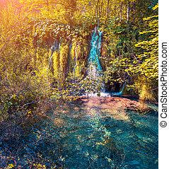 colorido, lagos, otoño, nacional, mañana, park., plitvice