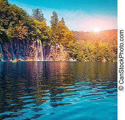colorido, lagos, verano, nacional, mañana, park., plitvice