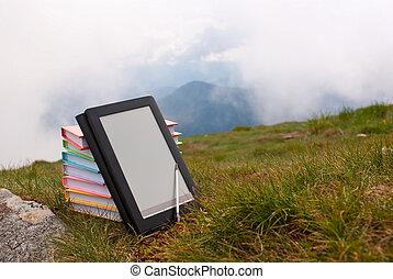 colorido, libro, libros, lector, pasto o césped,...