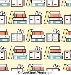colorido, libro, vector, ilustración, aprender, literatura, estudio, seamless, patrón, educación, conocimiento, documento, libro de texto