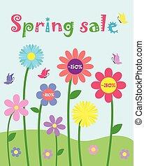 colorido, lindo, capricho, flores, y, mariposa, conjunto, primavera, venta, y, porcentaje, descuento, promoción, vector, plantilla, plano de fondo