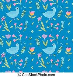 colorido, lindo, floral, seamless, patrón, con, aves, hojas, y, flores
