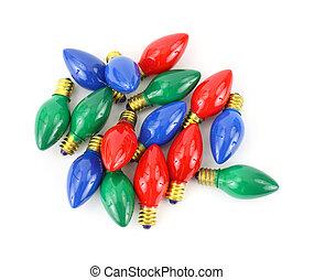 colorido, luz de navidad, bombillas