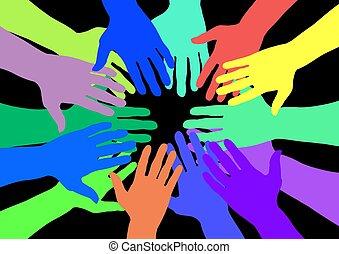 colorido, mãos