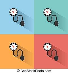 colorido, médico, pressão, tonometer, sangue, backgrounds., sombra, cheque, ícone