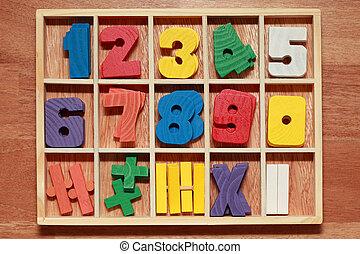 colorido, madeira, idade, jogo, números, sinais, júnior, matemática