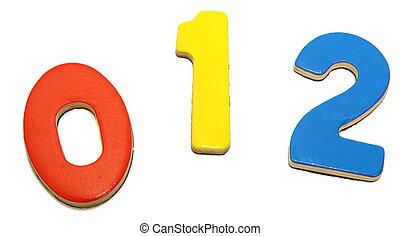 colorido, magnético, 1, 0, 2, números