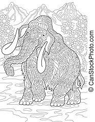 colorido, mamut, página