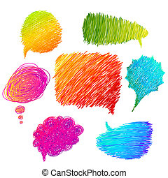 colorido, mano, dibujado, discurso, burbujas