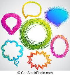 colorido, mano, dibujado, discurso