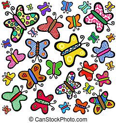 colorido, mano, dibujado, garabato, mariposas