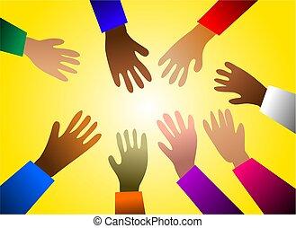 colorido, manos
