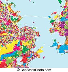colorido, mapa, de, río de janeiro