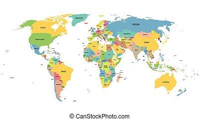 colorido, mapa del mundo, con, nombres, de, todos, países