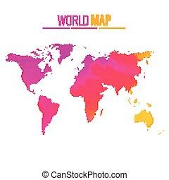 colorido, mapa del mundo, vector, diseño