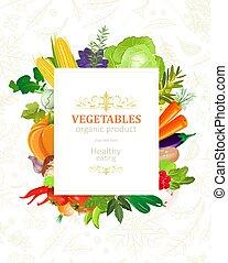 colorido, marco, su, diseño, bandera, vegetales