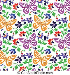 colorido, mariposas, patrón