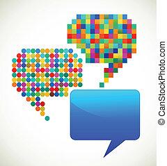 colorido, modelado, discurso, burbujas