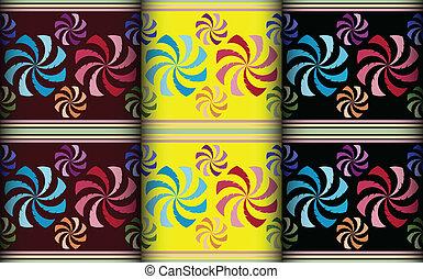 colorido, molino de viento, patrón