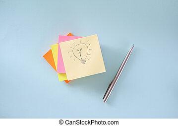 colorido, muchos, acostado, tabla, pluma, dibujo, pedazo, bombilla, luz, paper., pegatinas, bolígrafo