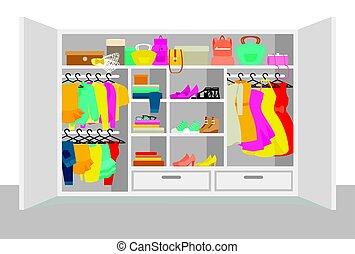 colorido, mujer, guardarropa, elementos, concepto