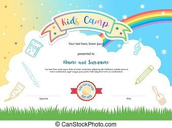 colorido, niños, campo verano, diploma, certificado, plantilla, en, caricatura, estilo, con, cielo, arco irirs, y, niños, elementos, en, el, plano de fondo