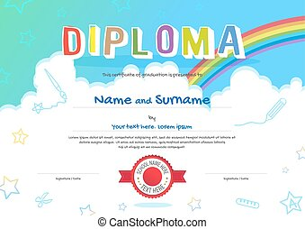 colorido, niños, diploma, certificado, en, caricatura, estilo, con, cielo, arco irirs, y, niños, elementos, en, el, plano de fondo