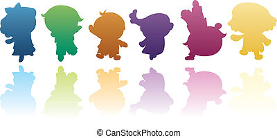 colorido, niños, siluetas