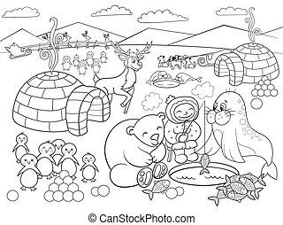 colorido, norte, niños, ilustración, poste, vector