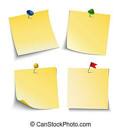 colorido, nota, empurrão, papel, modelo, alfinetes