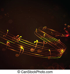 colorido, nota musical, plano de fondo
