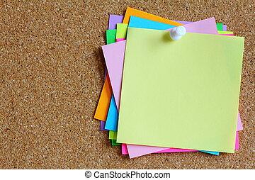 colorido, notas, pegajoso, tabla, corcho, boletín