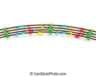 colorido, notas, tridimensional, frente, musical, vista