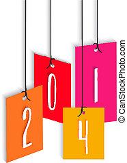 colorido, nuevo, hangtag, ilustración, año, 2014, feliz