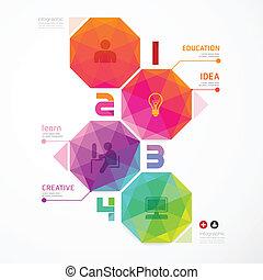 /, colorido, numerado, ser, geométrico, banderas, infographics, utilizado, lata, diseño, moderno