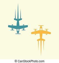 colorido, objetos, isolado, dois, vetorial, avião