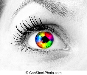 colorido, ojo humano