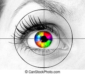 colorido, ojo humano, y, blanco