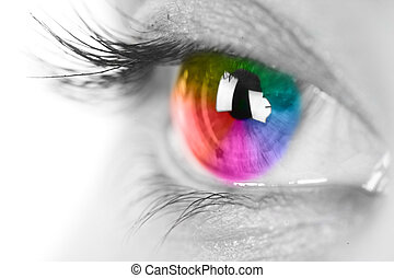 colorido, ojo