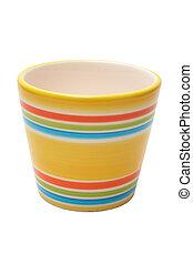 colorido, olla de cerámica, aislado, encima, fondo blanco